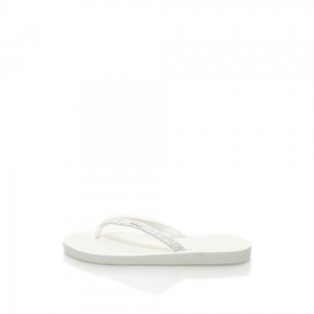 Papuci flip-flop albi cu particule stralucitoare Alice