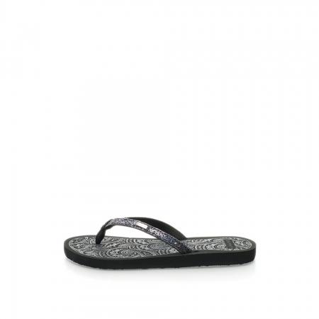 Papuci flip-flop negri cu particule stralucitoare Alice