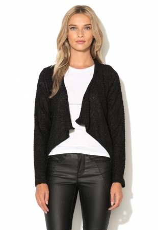 Cardigan asimetric negru New Tracy Only
