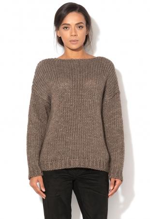 Pulover maro din amestec de lana Aemilia Minimum