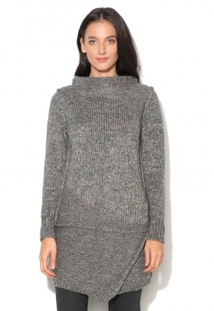 Pulover lung gri melange tricotat Odele Big Star