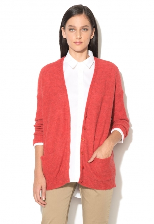 Cardigan rosu melange fara inchidere United Colors Of Benetton