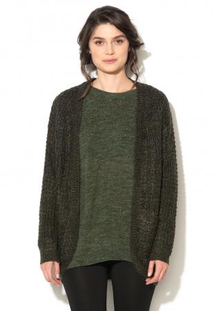 Cardigan tricotat negru cu verde inchis Mimei b.young