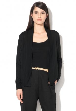 Cardigan negru cu insertie matasoasa Y by Yumi