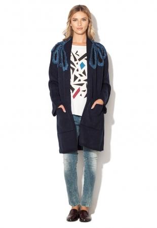 Cardigan lung bleumarin tricotat Mexx