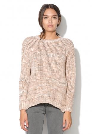 Pulover roz somon cu slituri laterale New Look