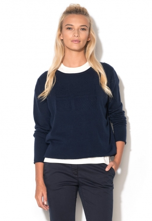 Pulover bleumarin inchis tricotat fin din lana Darigi Napapijri