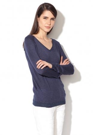 Pulover bleumarin tricotat fin cu fire stralucitoare Yumi