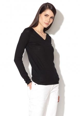 Pulover negru tricotat fin cu fire stralucitoare Yumi