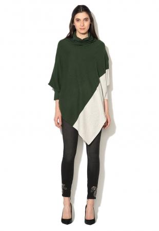 Pulover asimetric verde englez cu gri Crisocolla Silvian Heach Collection