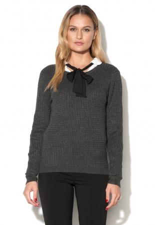 Bluza gri inchis cu model cu torsade Glory Vero Moda