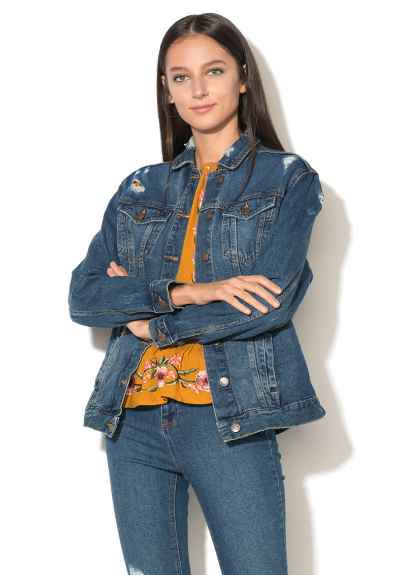 Jacheta din denim cu striatii NEW LOOK