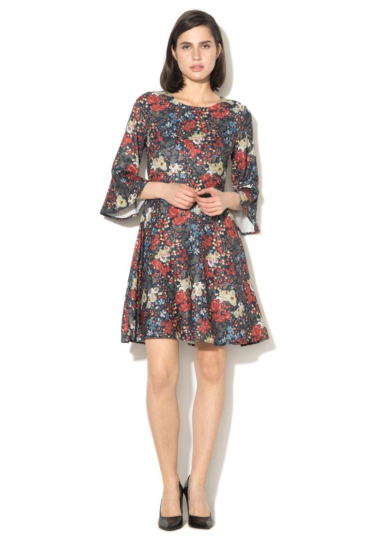 Rochie cu model floral si maneci evazate Yumi
