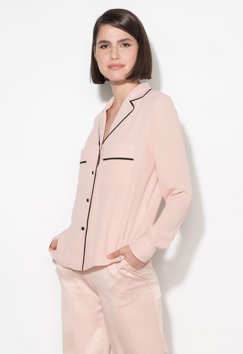 Camasa roz pastel cu garnituri negre Zee Lane Collection
