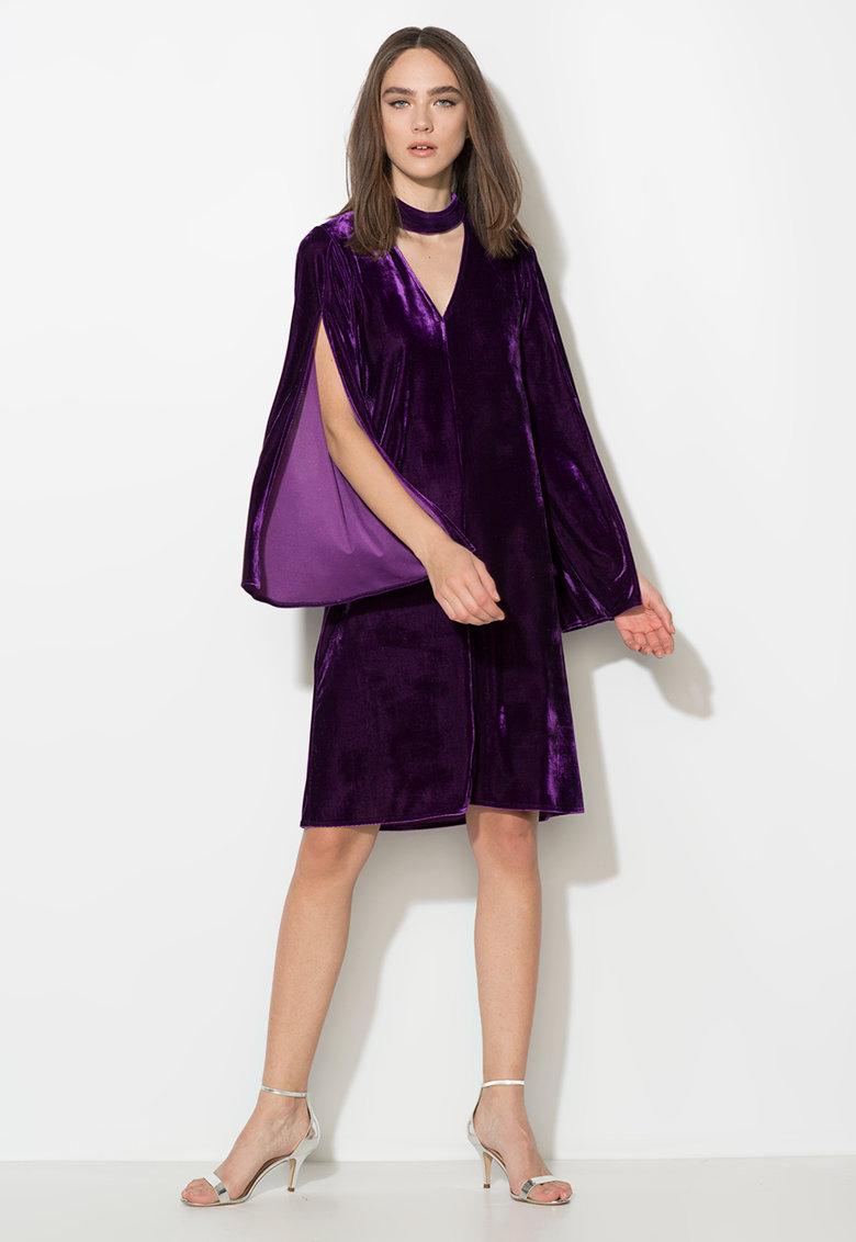 Rochie violet tyrian catifelata cu maneci evazate Zee Lane Collection