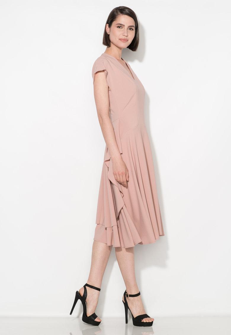 Rochie midi roz prafuit cu croiala pe bie Zee Lane Collection
