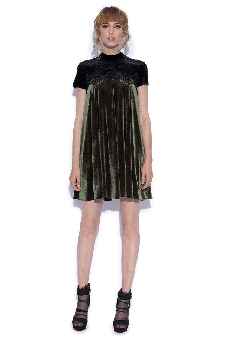Rochie mini de catifea cu croiala in A NISSA