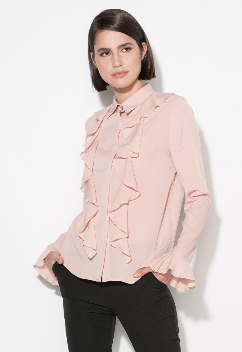 Camasa roz pastel cu volane Zee Lane Collection