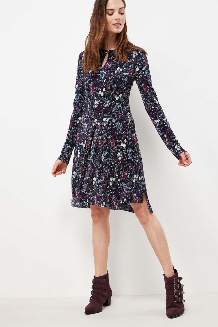 Rochie cu pliuri si model floral NEXT