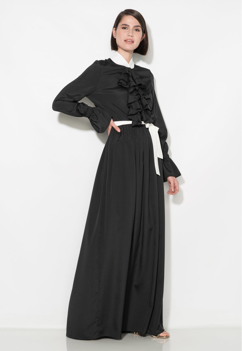 Rochie maxi neagra cu garnituri albe Zee Lane Collection