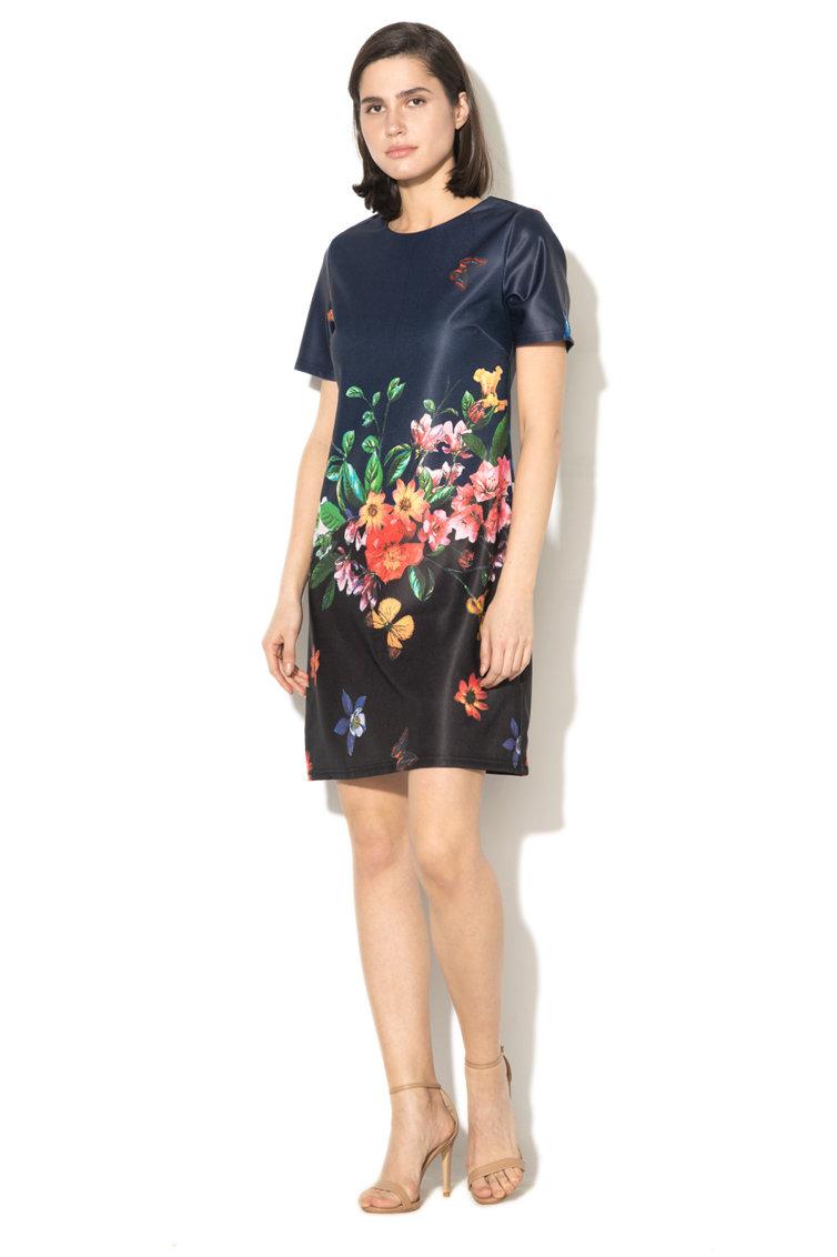 Rochie tip tunica cu imprimeu flora Yumi