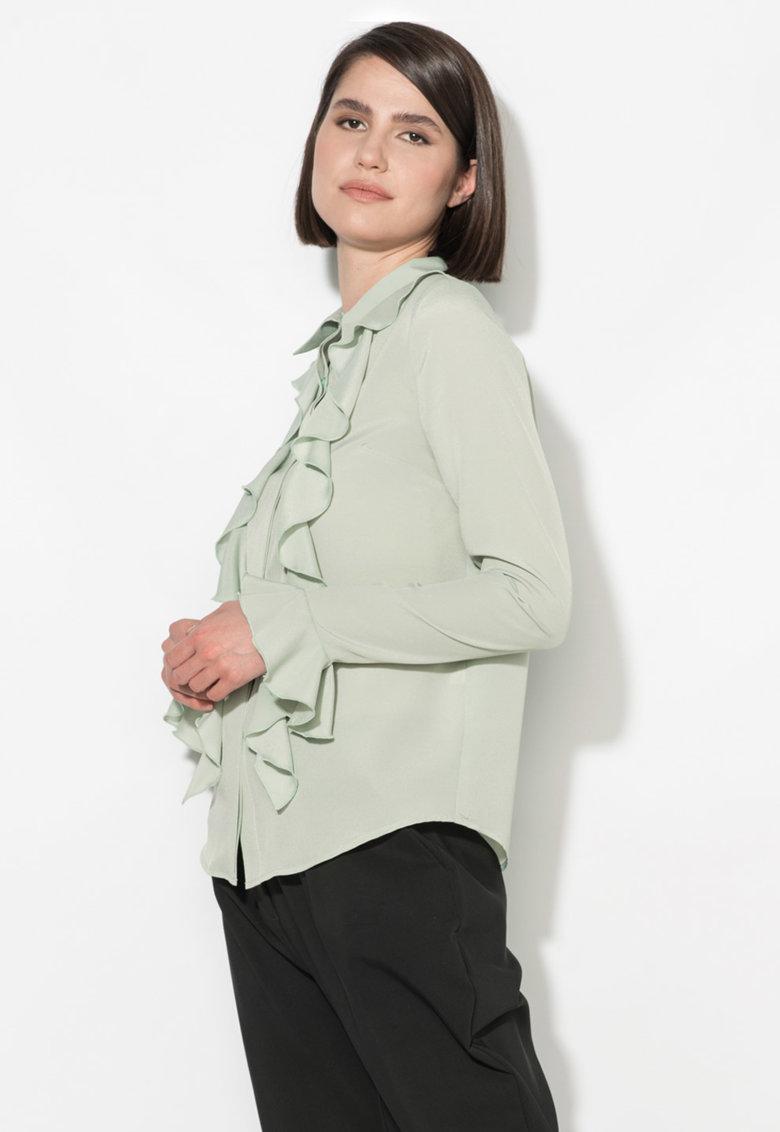 Camasa verde celadon cu volane Zee Lane Collection