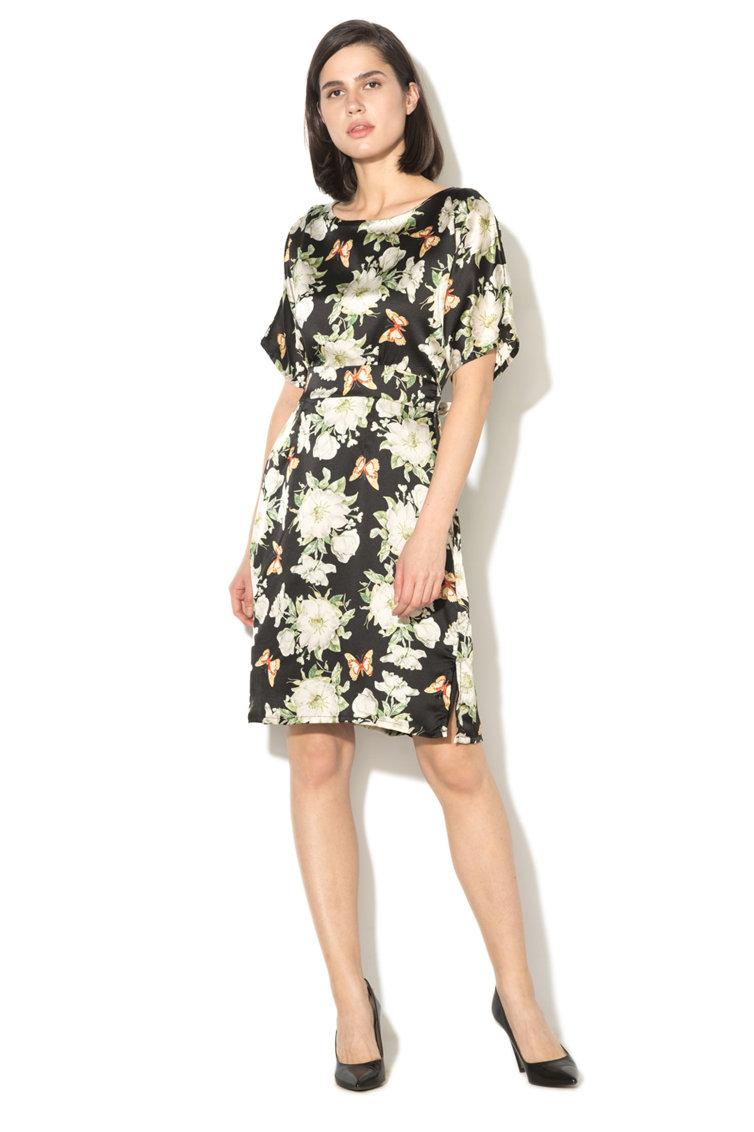 Rochie cu model floral si curea in talie Yumi