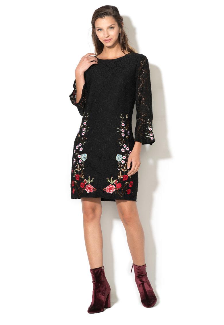 Rochie de dantela cu broderie florala Vermond DESIGUAL