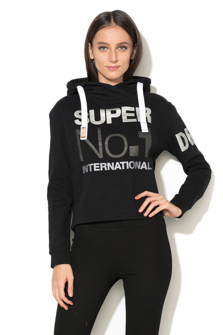 Hanorac cu captuseala din fleece si imprimeu frontal SUPERDRY
