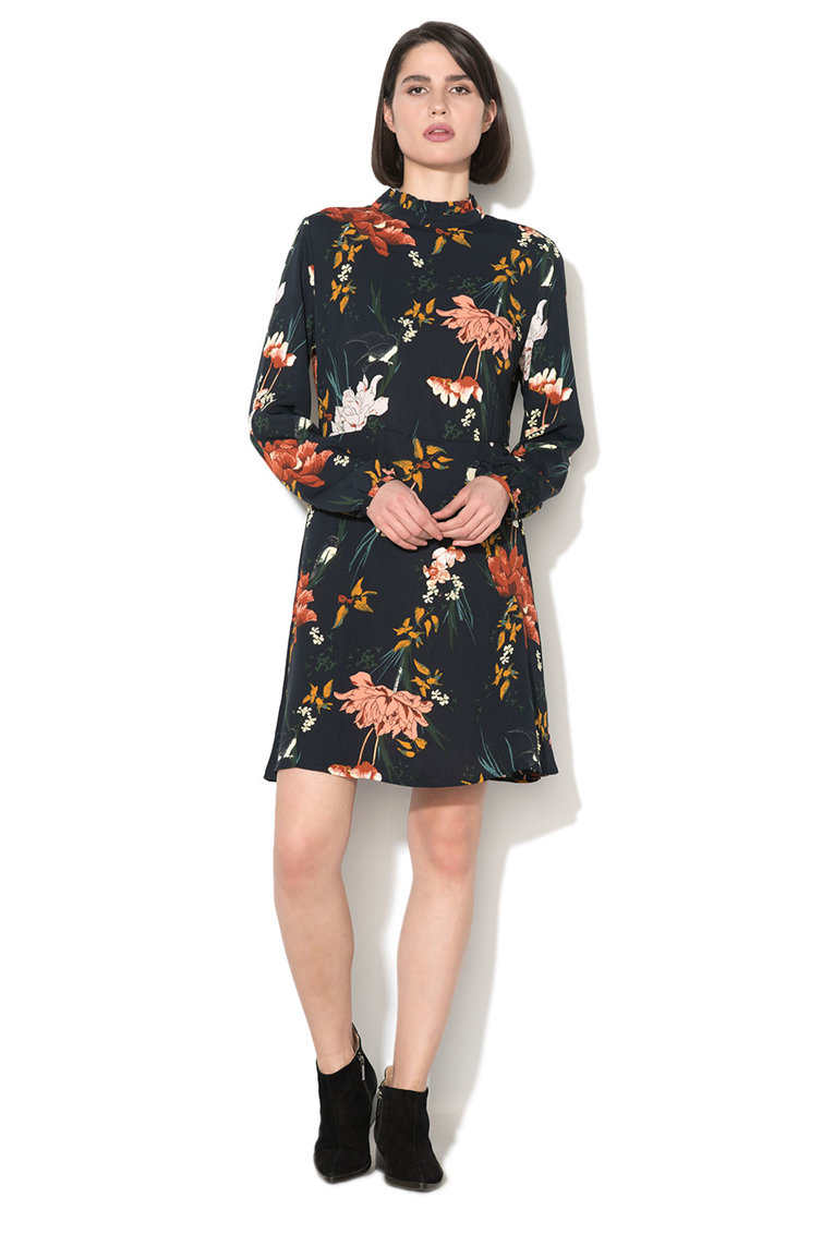 Rochie cu model floral si maneci lungi Aviaya Only