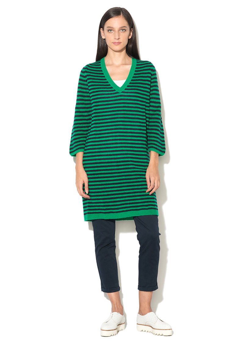 Rochie verde smarald cu negru in dungi United Colors of Benetton