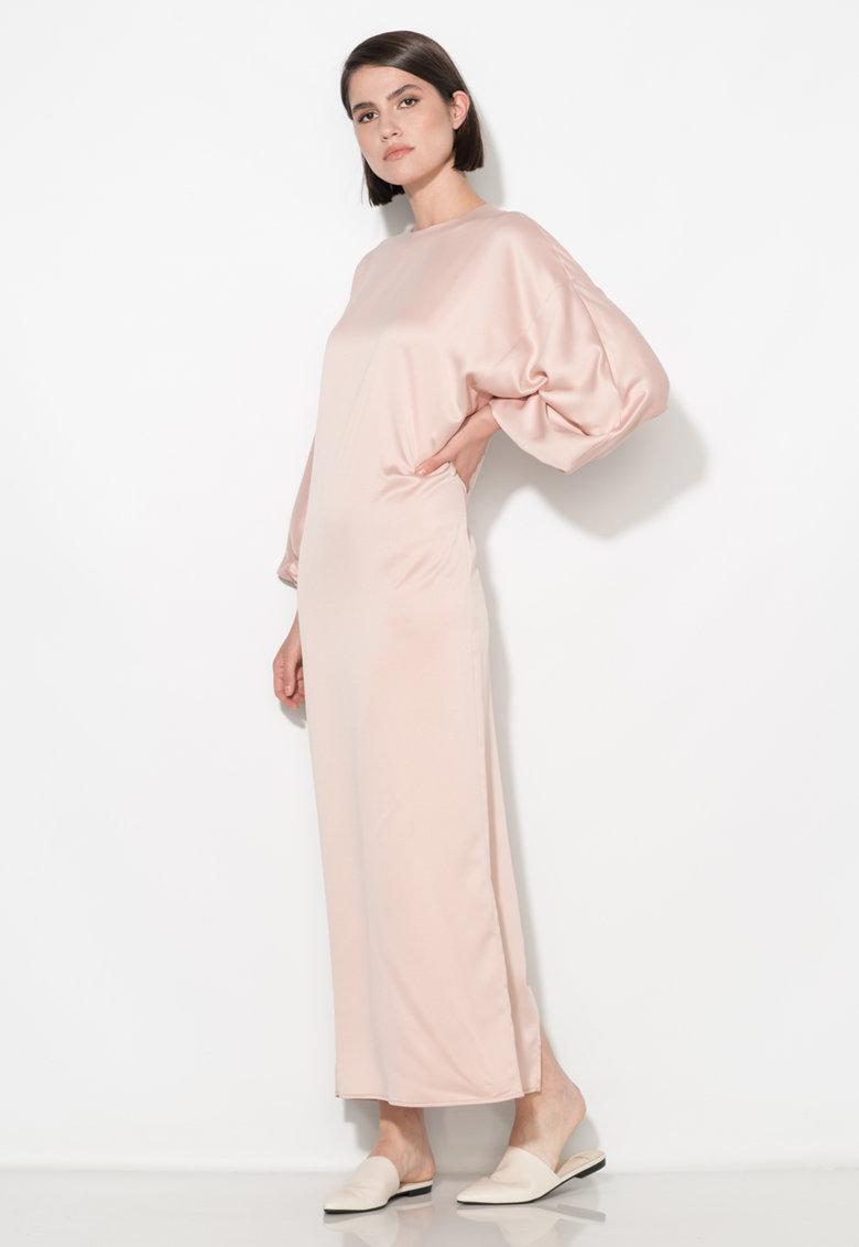 Rochie lunga roz deschis cu maneci bufante Zee Lane Collection