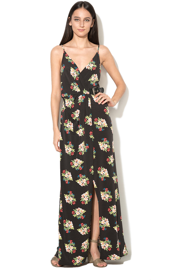 Rochie maxi cu model floral si slit fronta GUESS JEANS