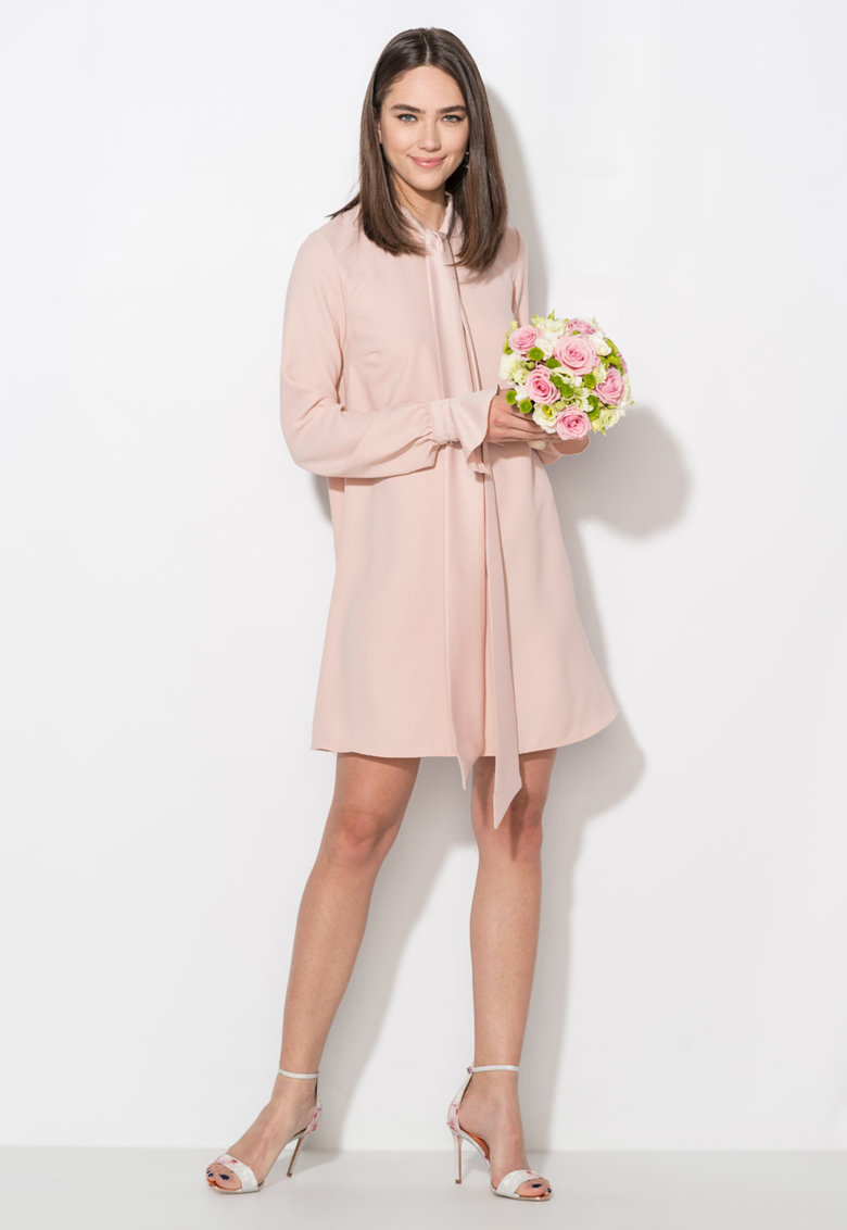 Rochie roz pal cu maneci lungi si croiala A Zee Lane Collection