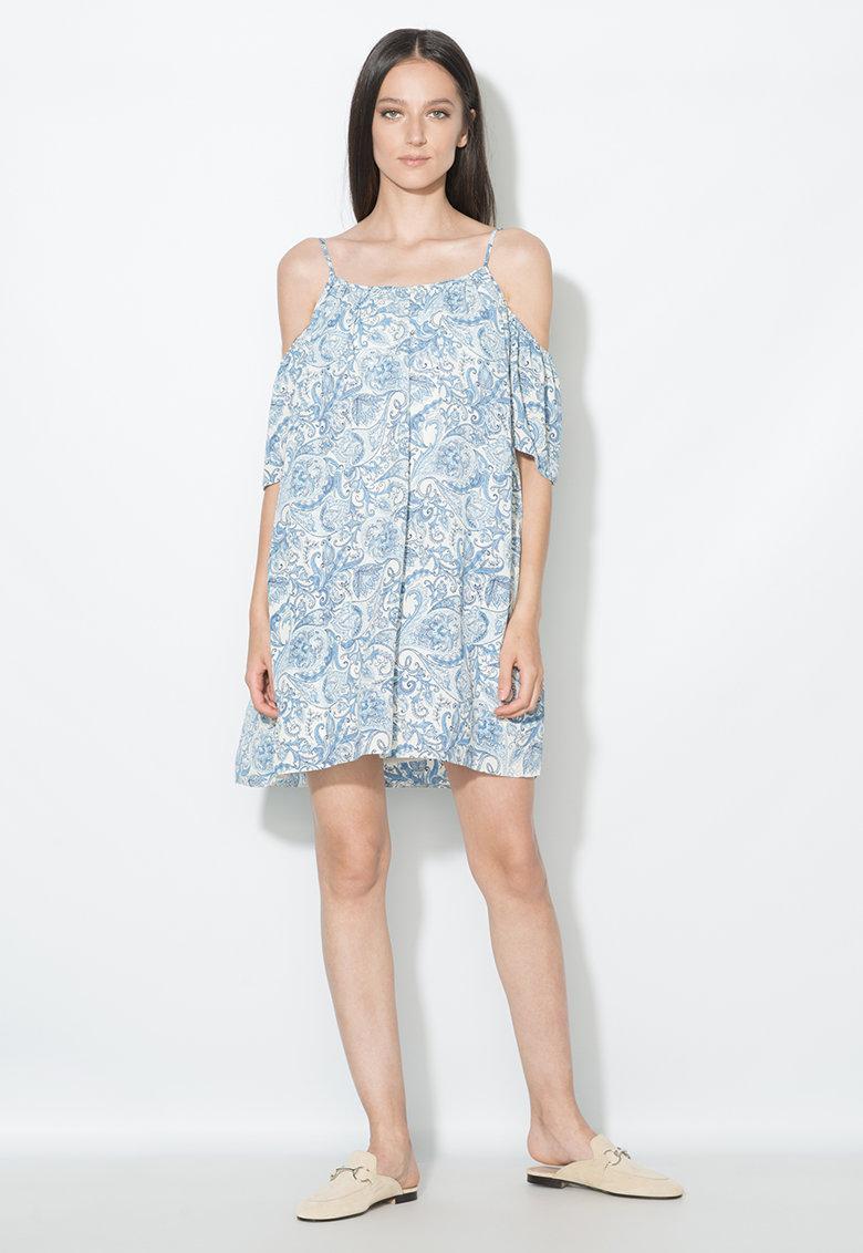 Rochie albastru si alb prafuit cu decupaje pe umeri Zee Lane Collection