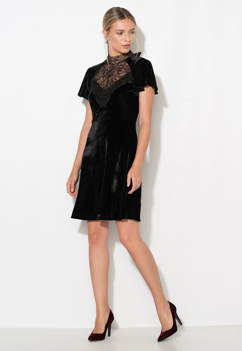 Rochie neagra catifelata Zee Lane Collection