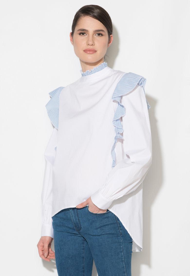 Camasa alb cu albastru in dungi si cu volane Zee Lane Denim