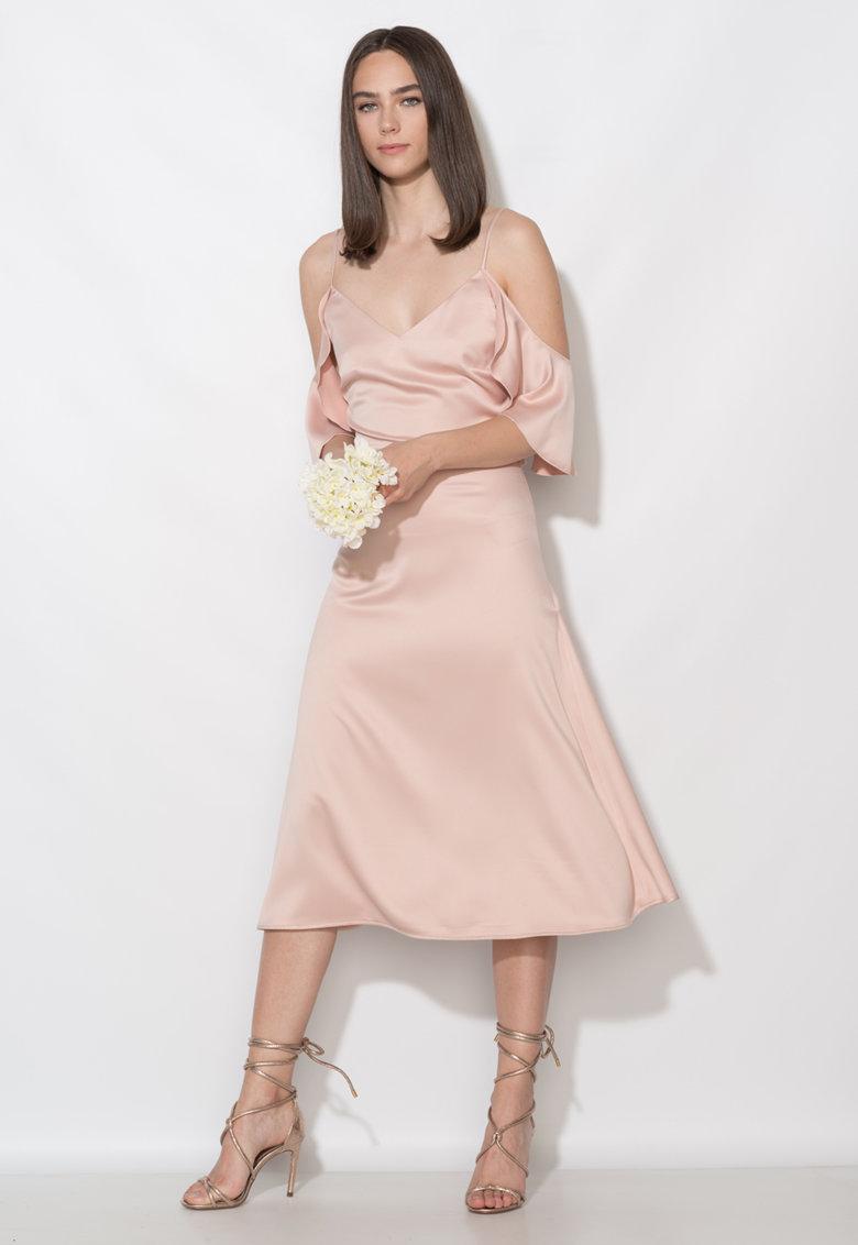Rochie roz prafuit cu decolteu pe umeri Zee Lane Collection