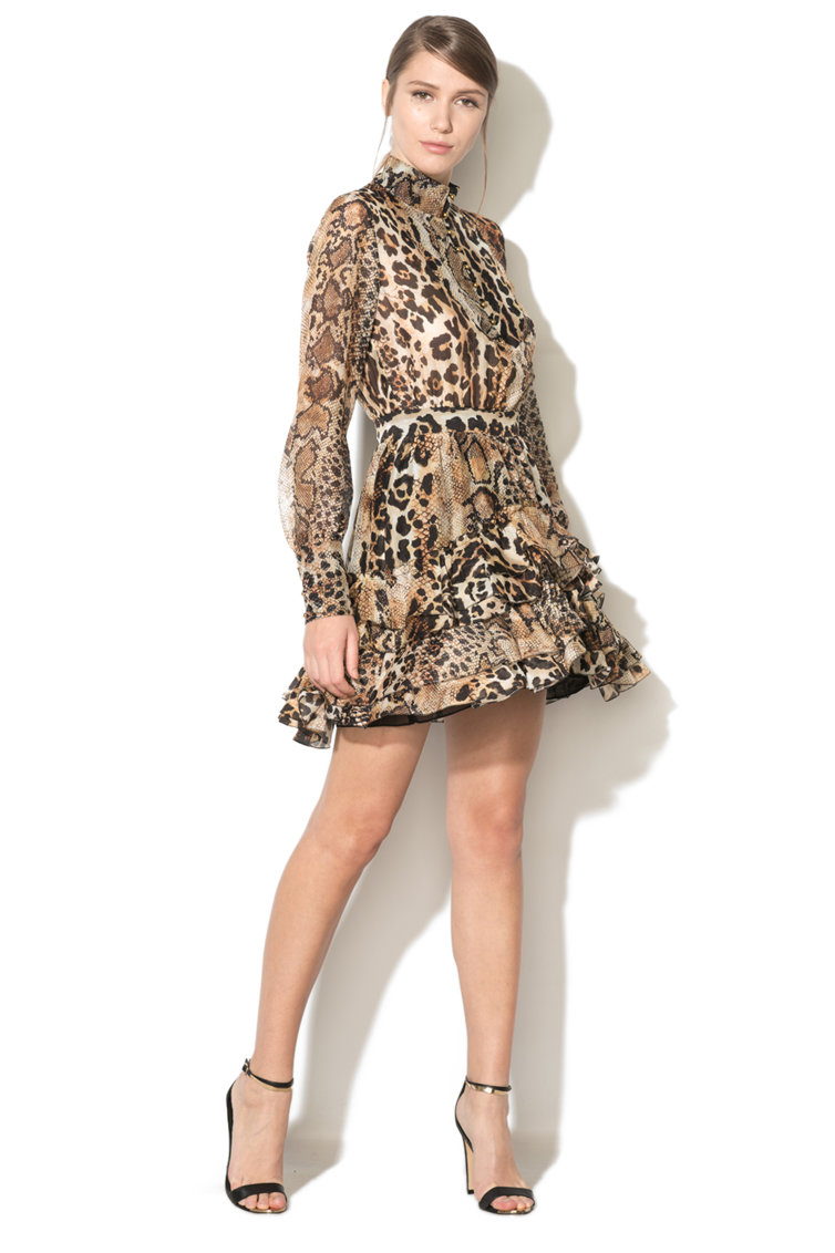 Rochie cu volane si animal print JUST CAVALLI