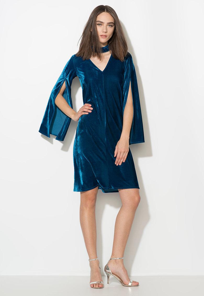 Rochie albastru paun catifelata cu maneci evazate Zee Lane Collection