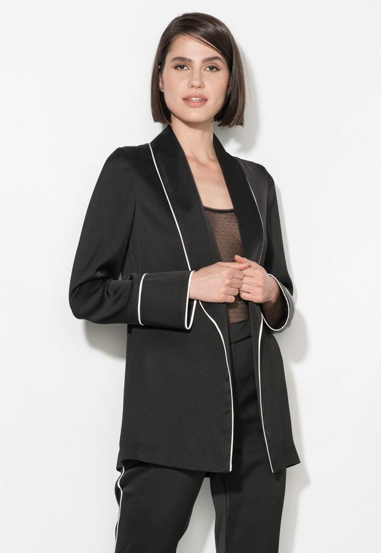Sacou negru fara inchidere si cu garnituri albe Zee Lane Collection