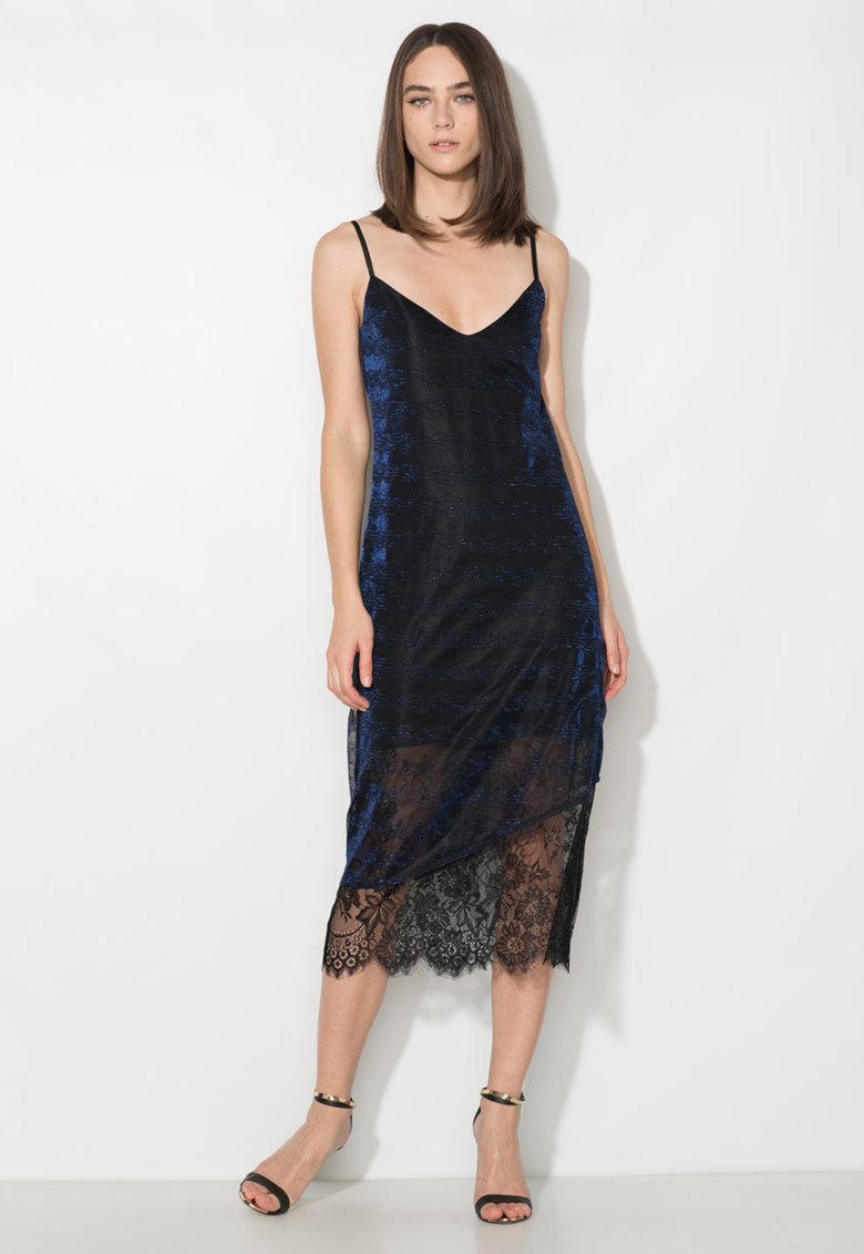 Rochie tip furou neagra cu insertii din fire albastre Zee Lane Collection