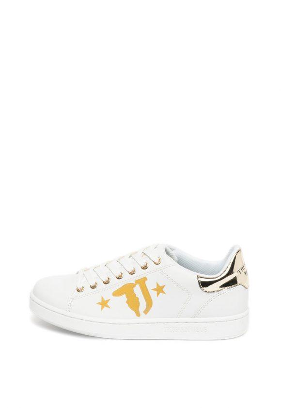 Pantofi sport de piele ecologica cu insertii stralucitoare-tenisi-Trussardi Jeans