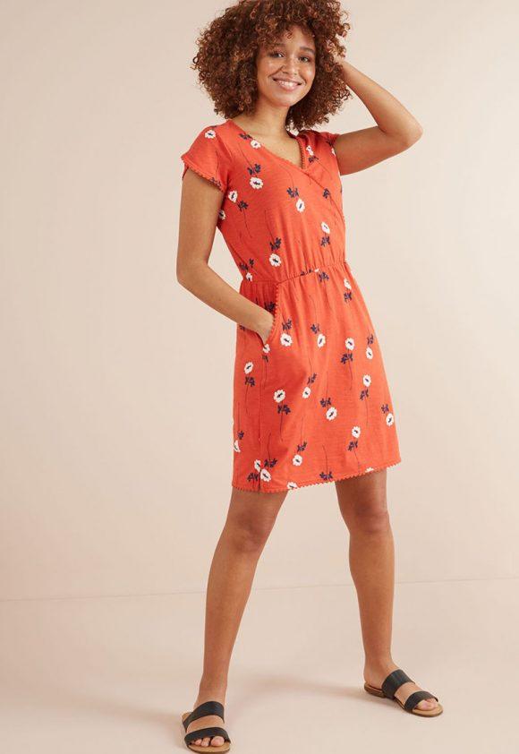 Rochie cu decolteu cache coeur si imprimeu floral-rochii-NEXT