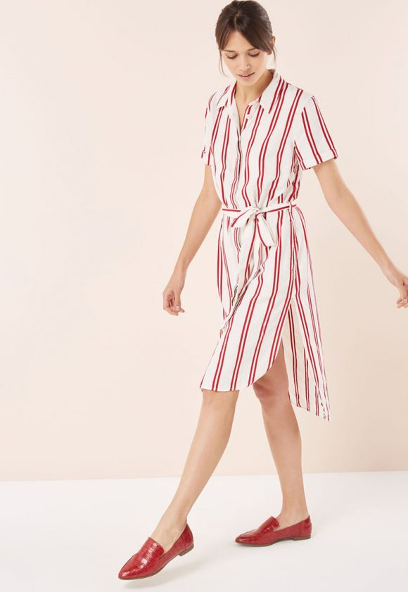 Rochie tip camasa midi - cu dungi si cordon in talie-rochii-NEXT