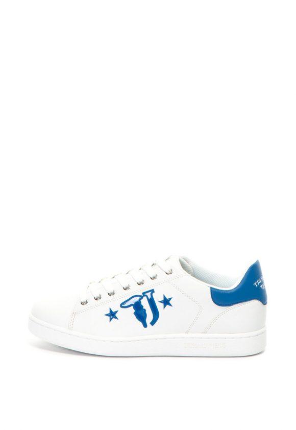 Pantofi sport de piele ecologica - cu imprimeu logo-tenisi-Trussardi
