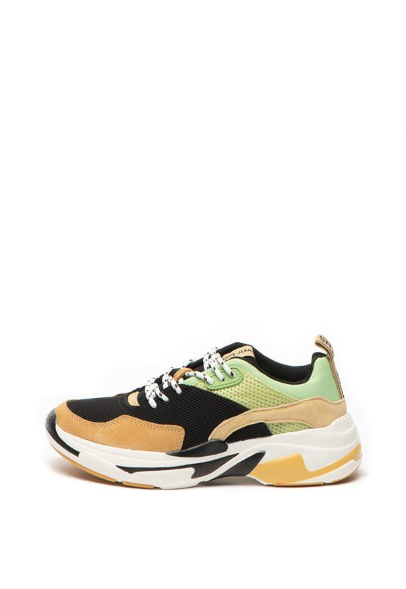 Pantofi sport cu insertii de piele intoarsa Sinyu-tenisi-Pepe Jeans London