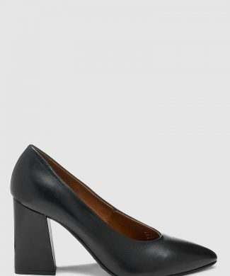Pantofi de piele cu varf ascutit si toc masiv-pantofi clasici-NEXT