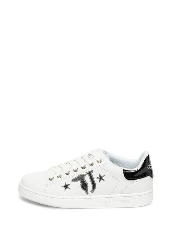 Pantofi sport de piele ecologica cu garnituri stralucitoare-tenisi-Trussardi Jeans