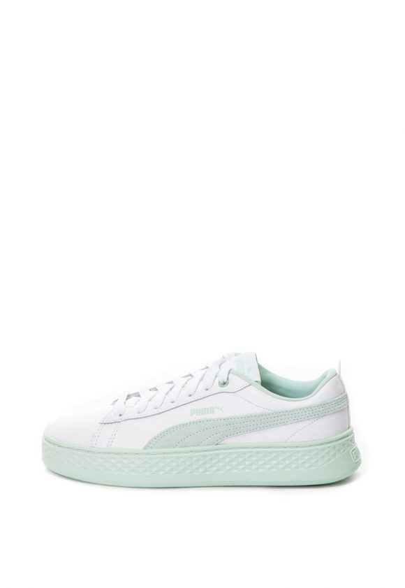 Pantofi sport de piele ecologica cu platforma si garnituri de piele intoarsa Smash-tenisi-Puma